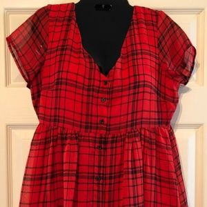 Old Navy Red & Black Check Long Top / Dress